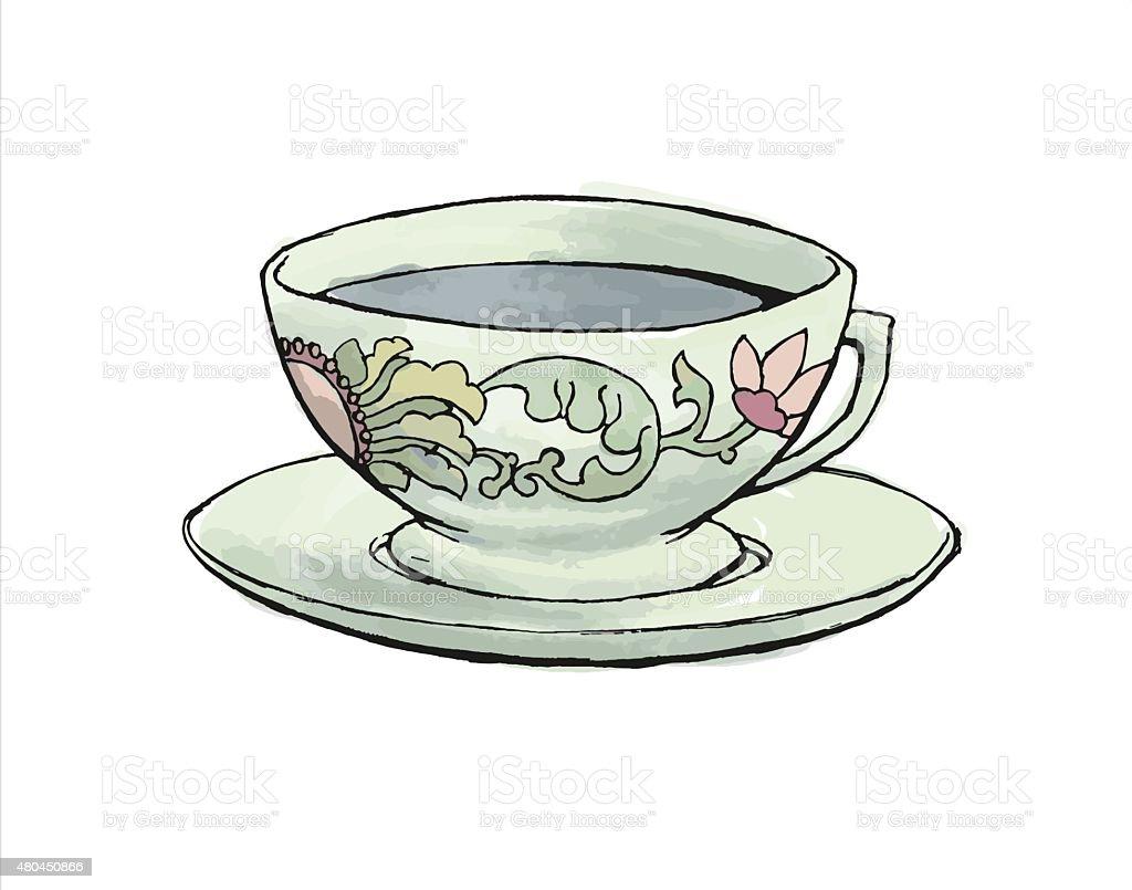 Tea Cup - Pastel Colors vector art illustration