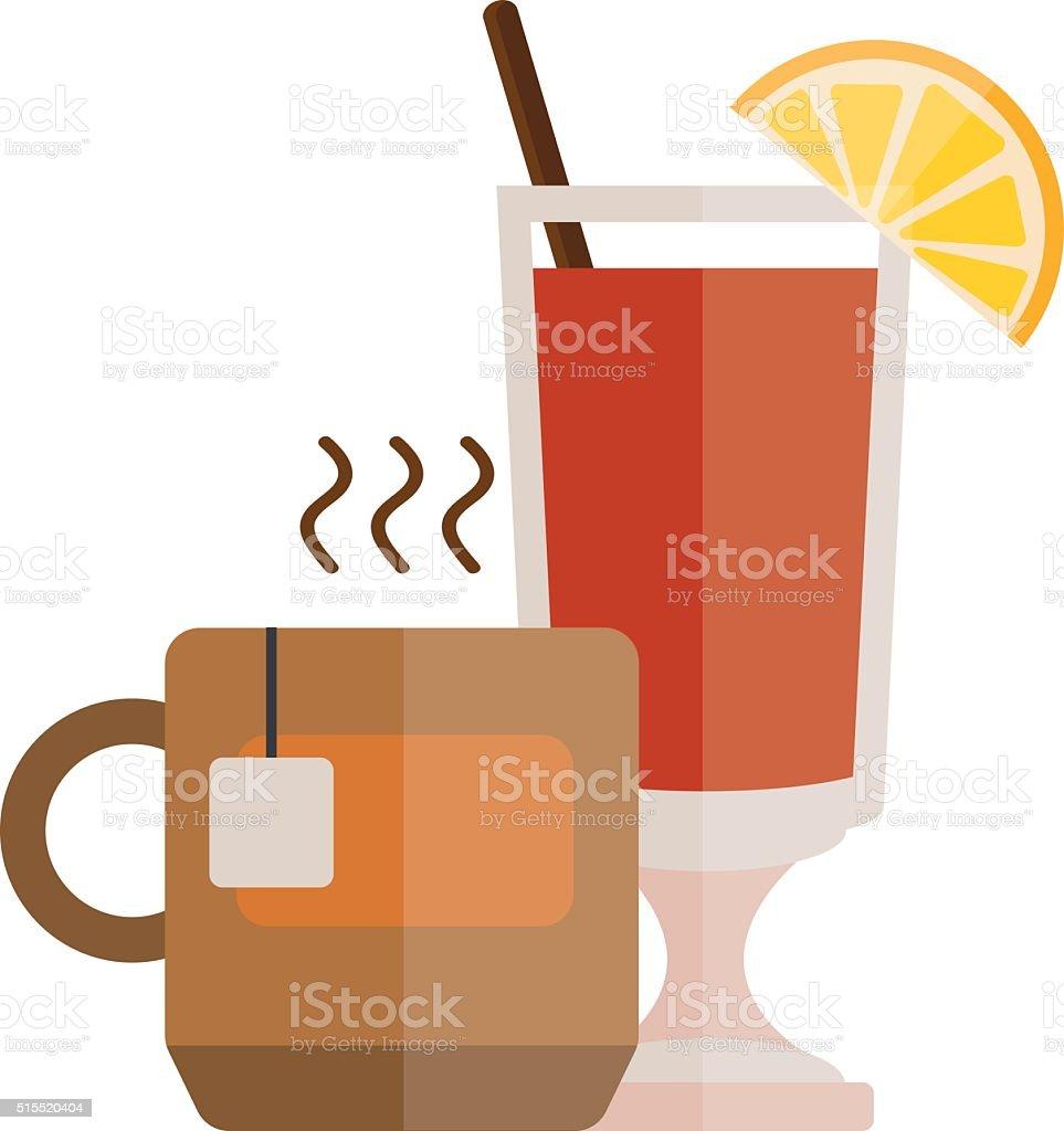Tea cup with lemon slice cartoon vector illustration vector art illustration