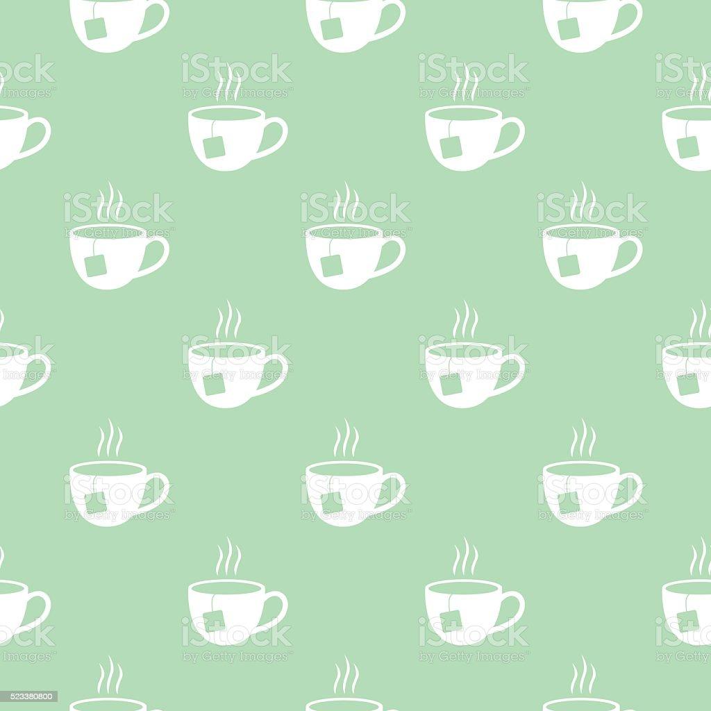 Tea Cups pattern vector art illustration