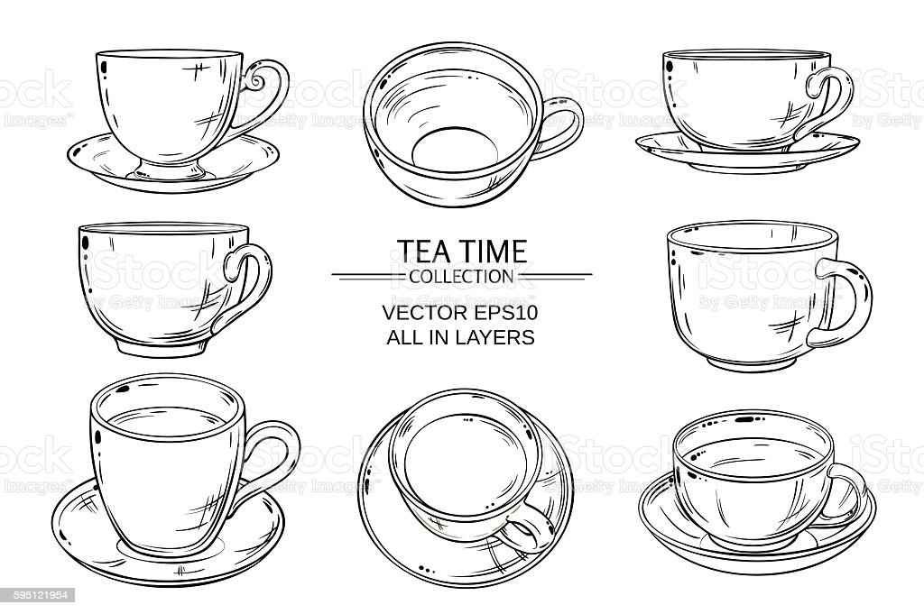 tea cups set vector art illustration