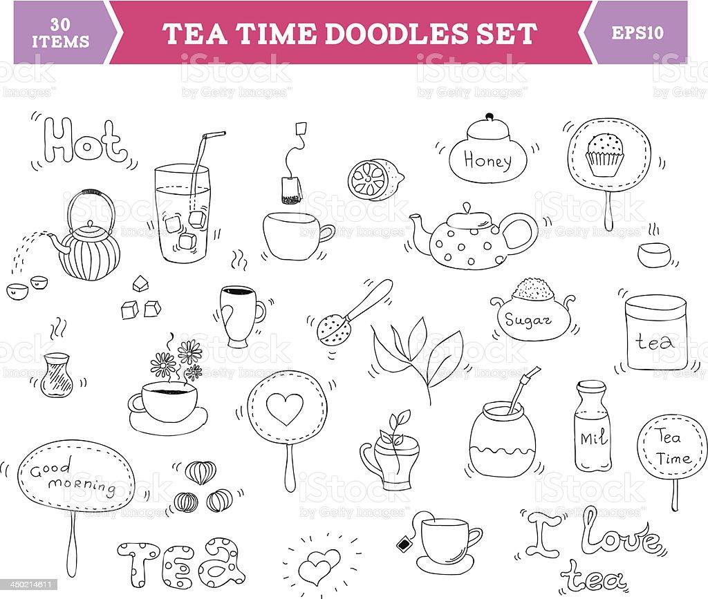 Tea doodle vector elements vector art illustration