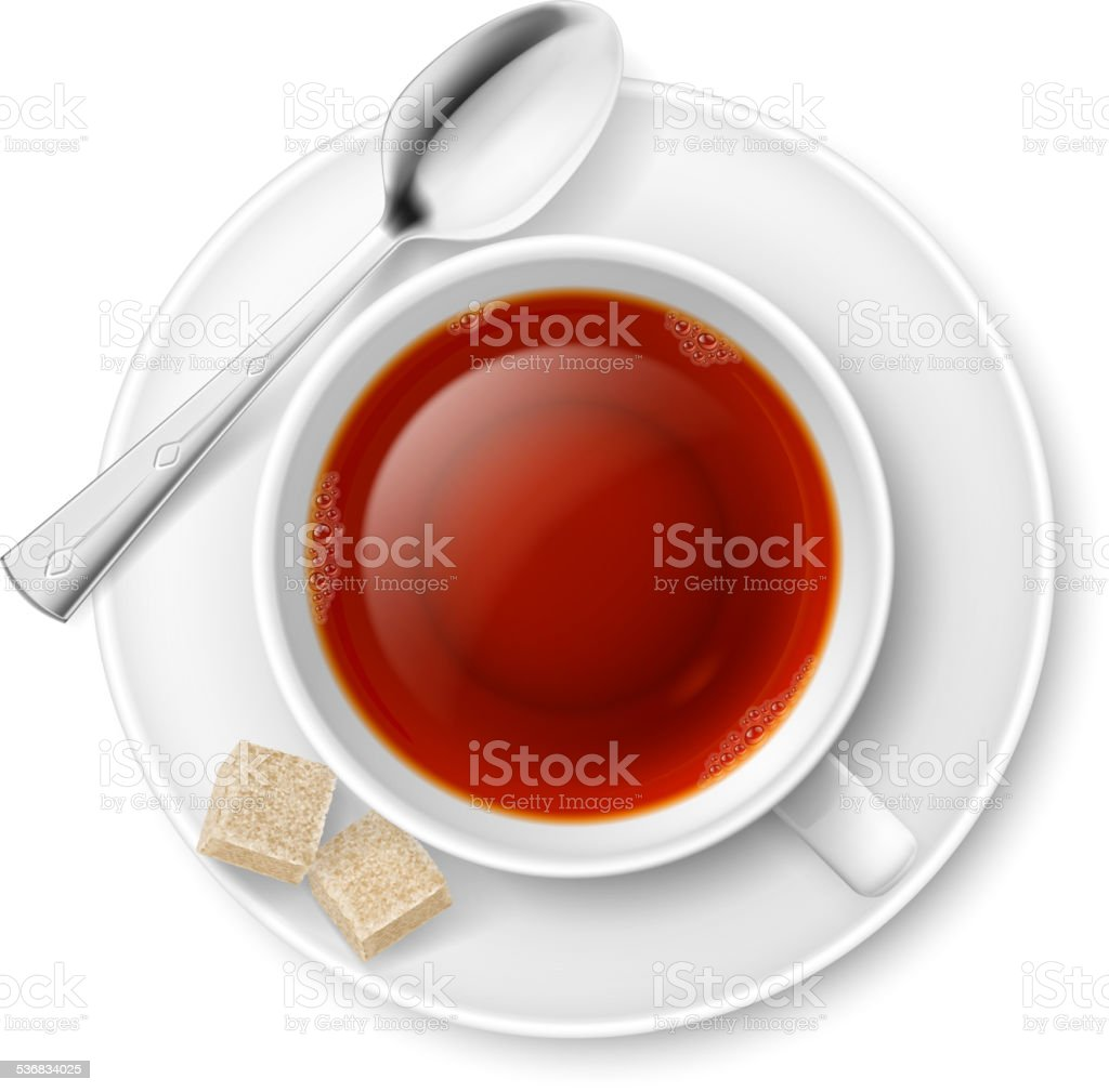Tea drinking vector art illustration