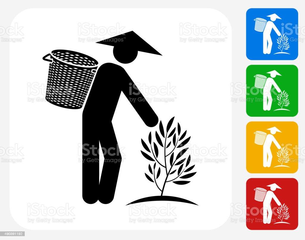 Tea Farmer Icon Flat Graphic Design vector art illustration