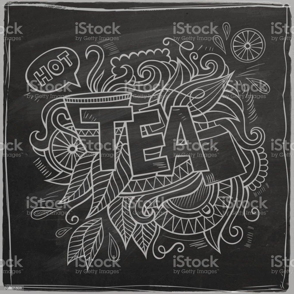 Tea hand lettering and doodles elements background vector art illustration