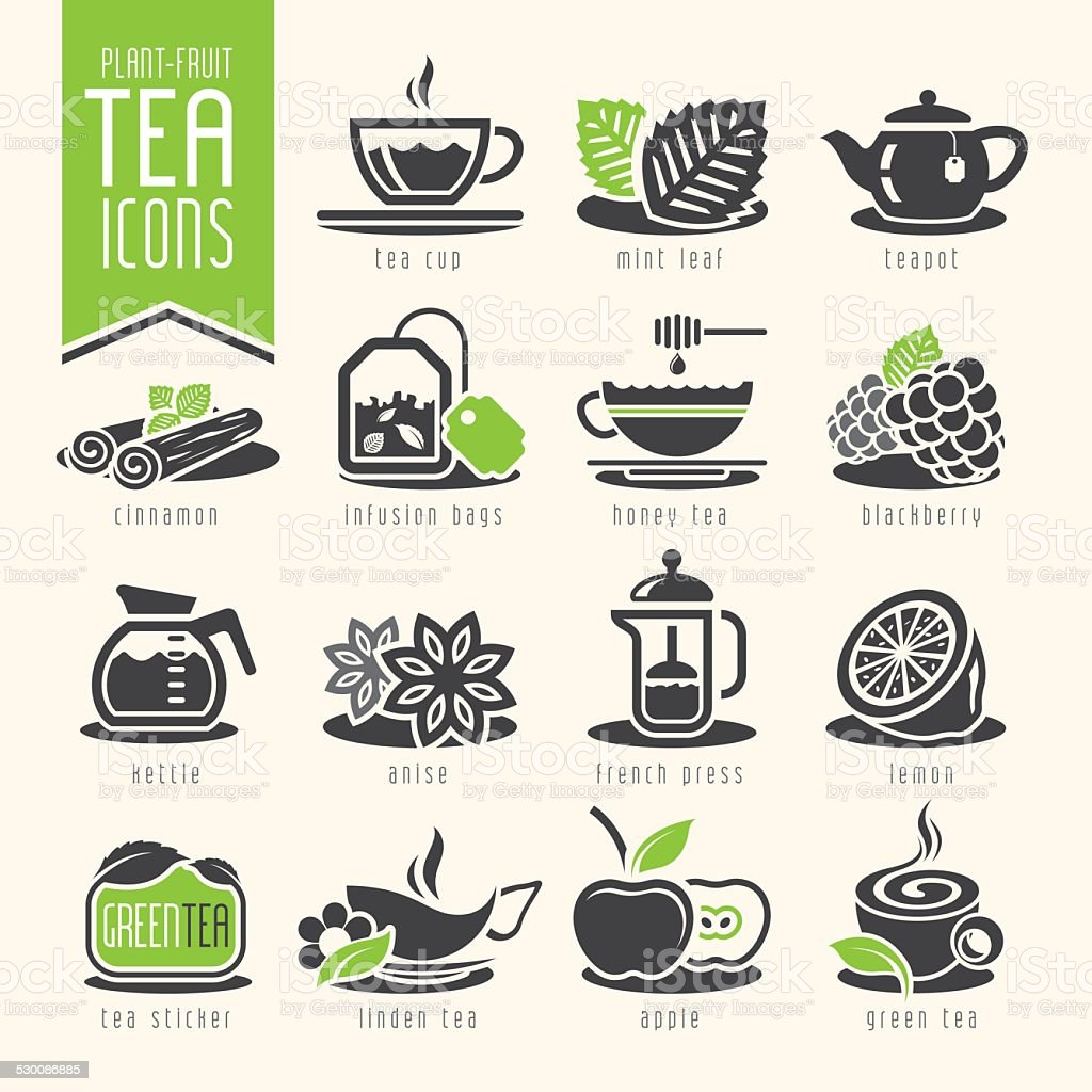 Tea icon set vector art illustration