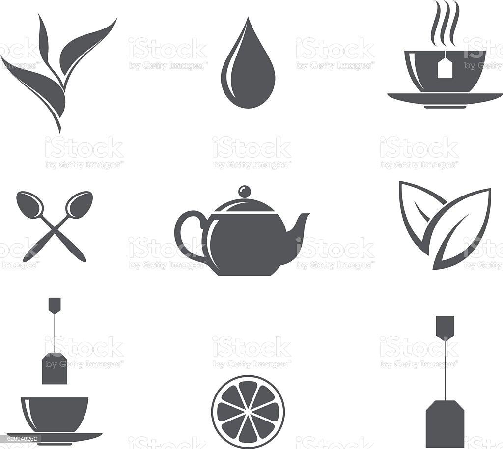 Tea. Icon set vector art illustration
