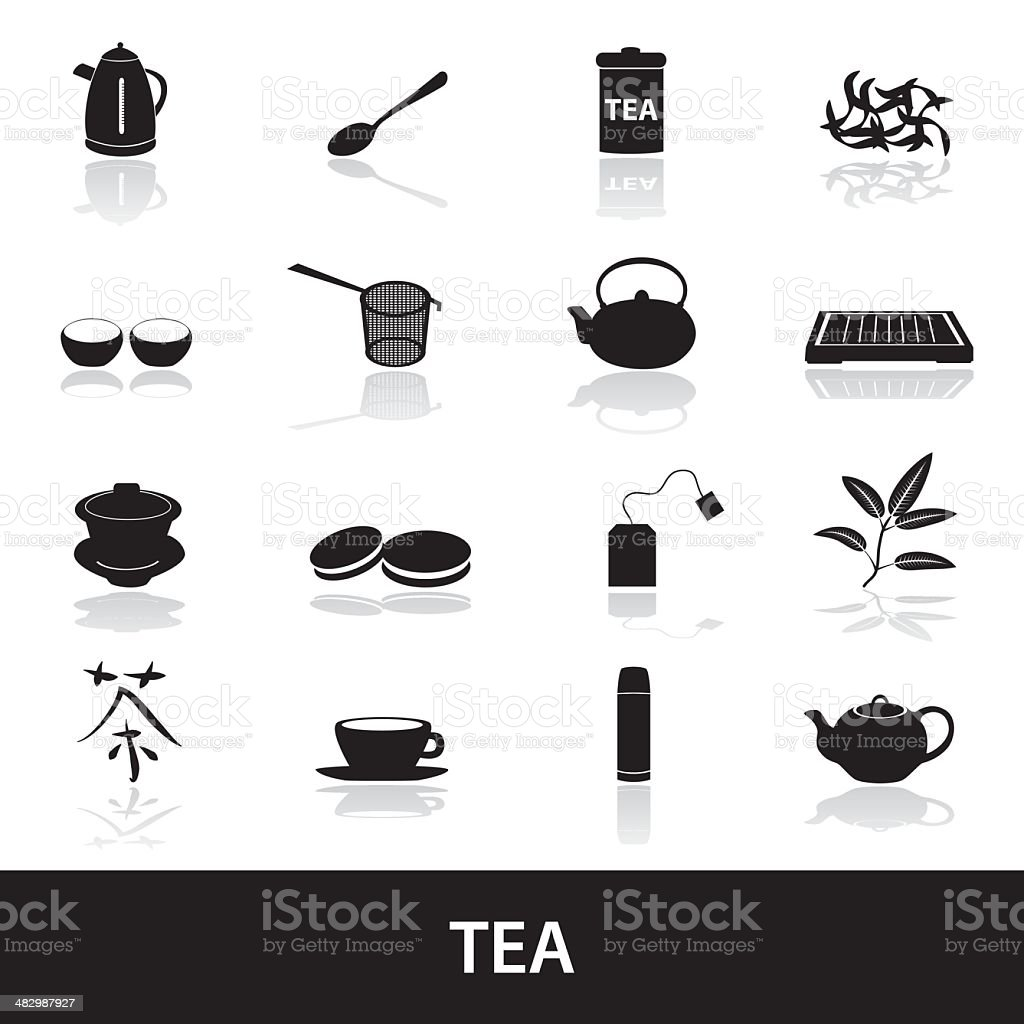 tea icons eps10 vector art illustration