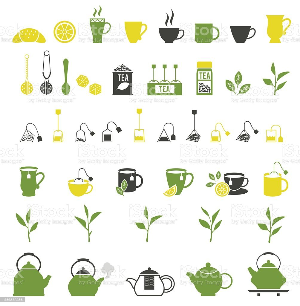 Tea icons. Pots set vector art illustration
