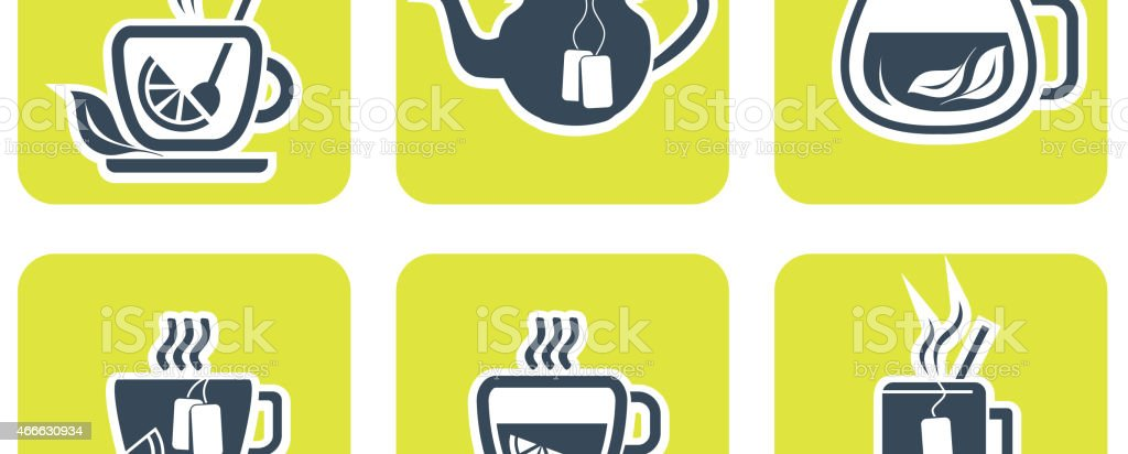 Tea icons set vector art illustration