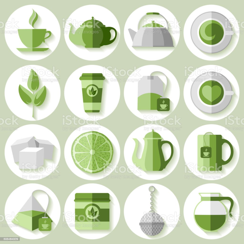 Tea icons set royalty-free stock vector art