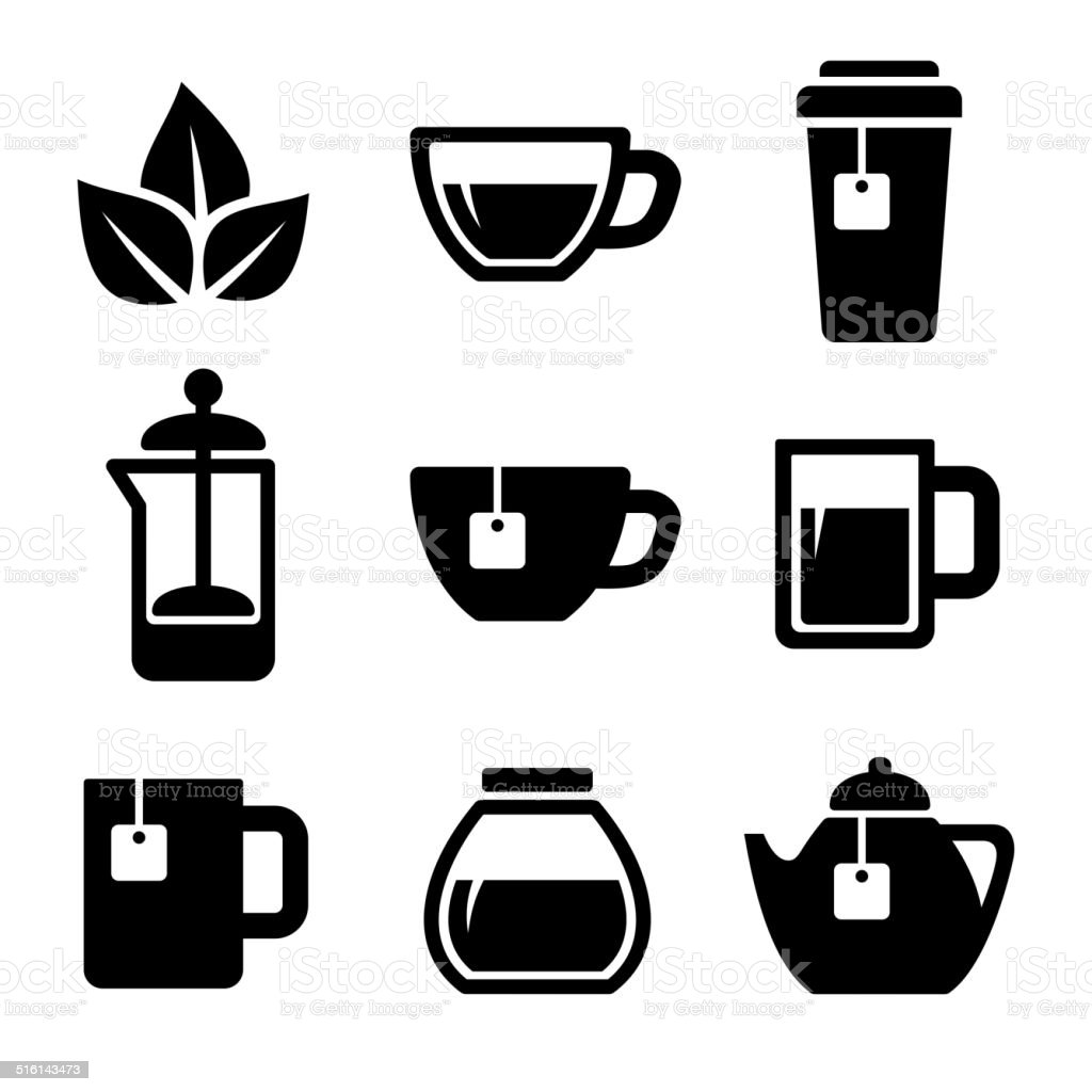 Tea Icons Set. Vector. vector art illustration