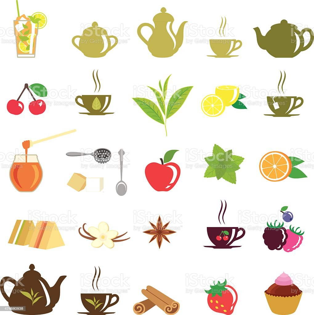 Tea Icons vector art illustration