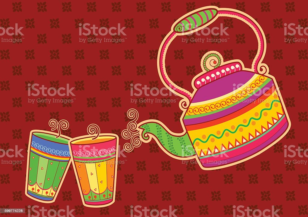 Tea kettle and glass in Indian art style vector art illustration