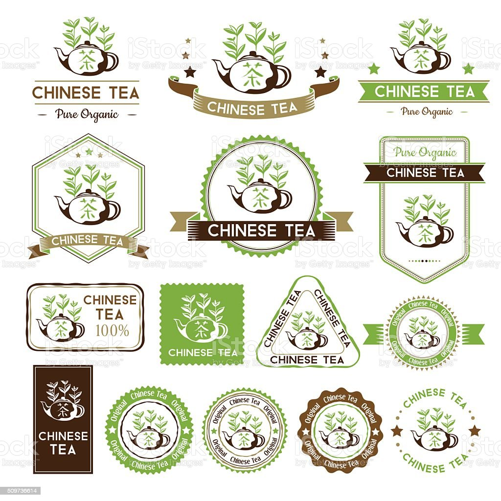 Tea labels set. Chinese tea badges collection. vector art illustration