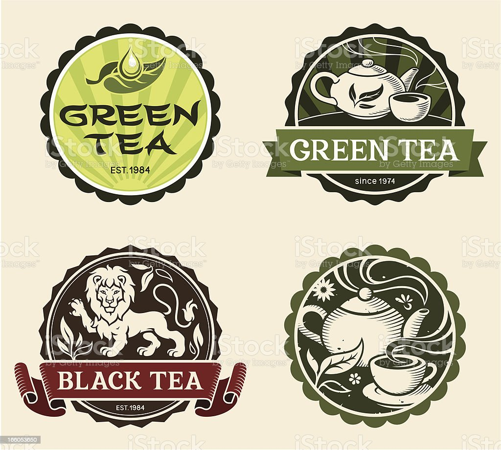 Tea labels vector art illustration