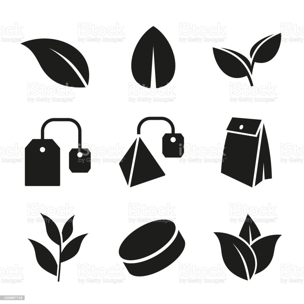 Tea Leaf and Bags Icons Set. Vector. vector art illustration