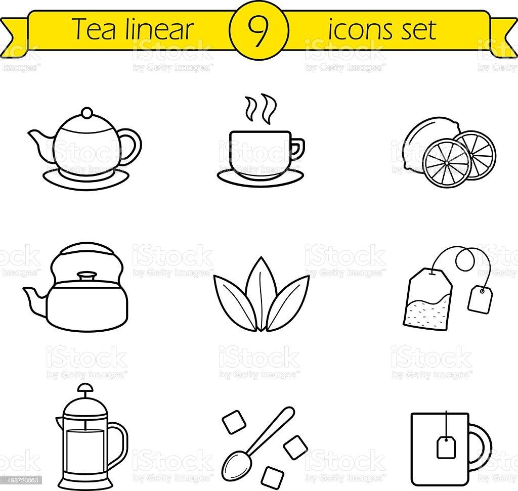 Tea linear icons set vector art illustration