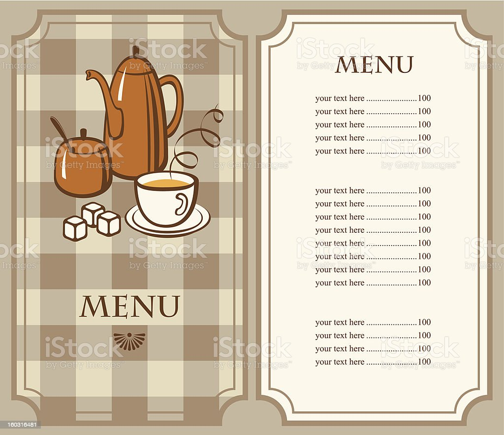 tea menu royalty-free stock vector art