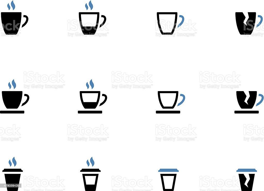 Tea mug and Coffee cup duotone icons. vector art illustration