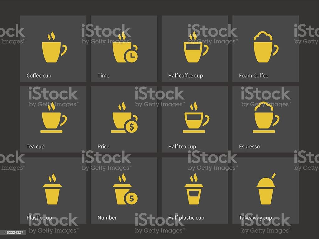 Tea mug and Coffee cup icons. vector art illustration