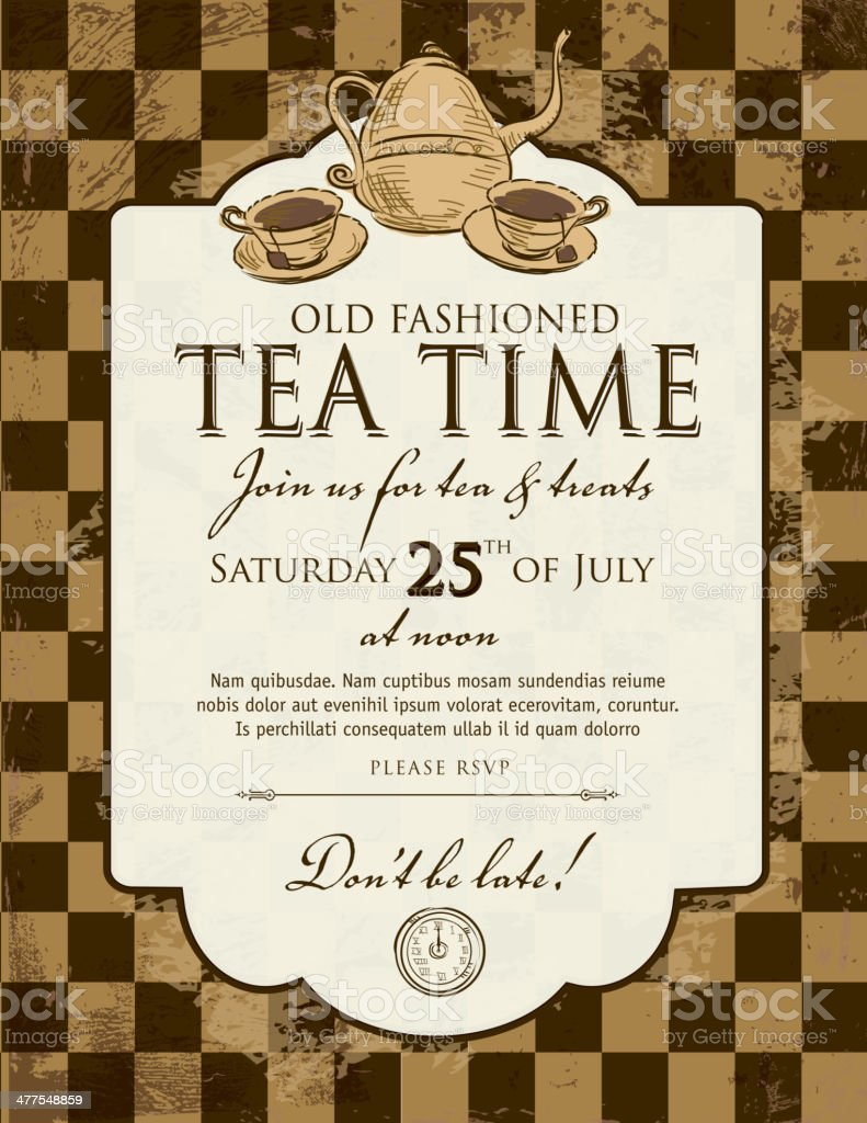 Tea party checkered background invitation design template vector art illustration