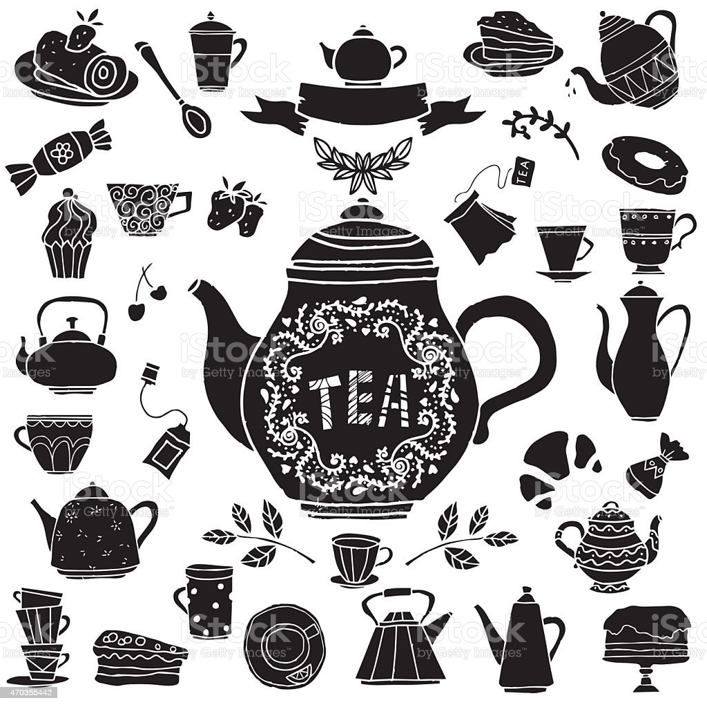 Tea party hand drawn icons black silhouettes set vector art illustration