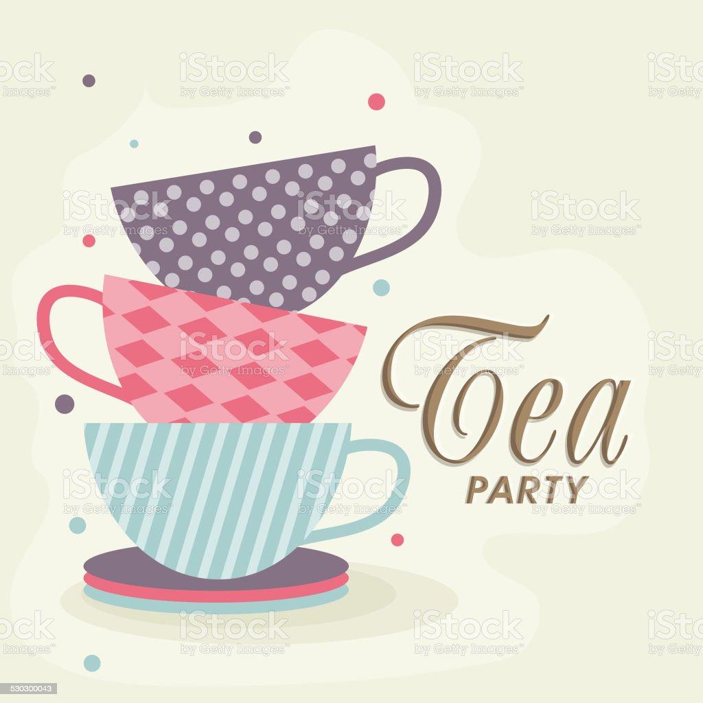 Tea Party Invitation card. vector art illustration