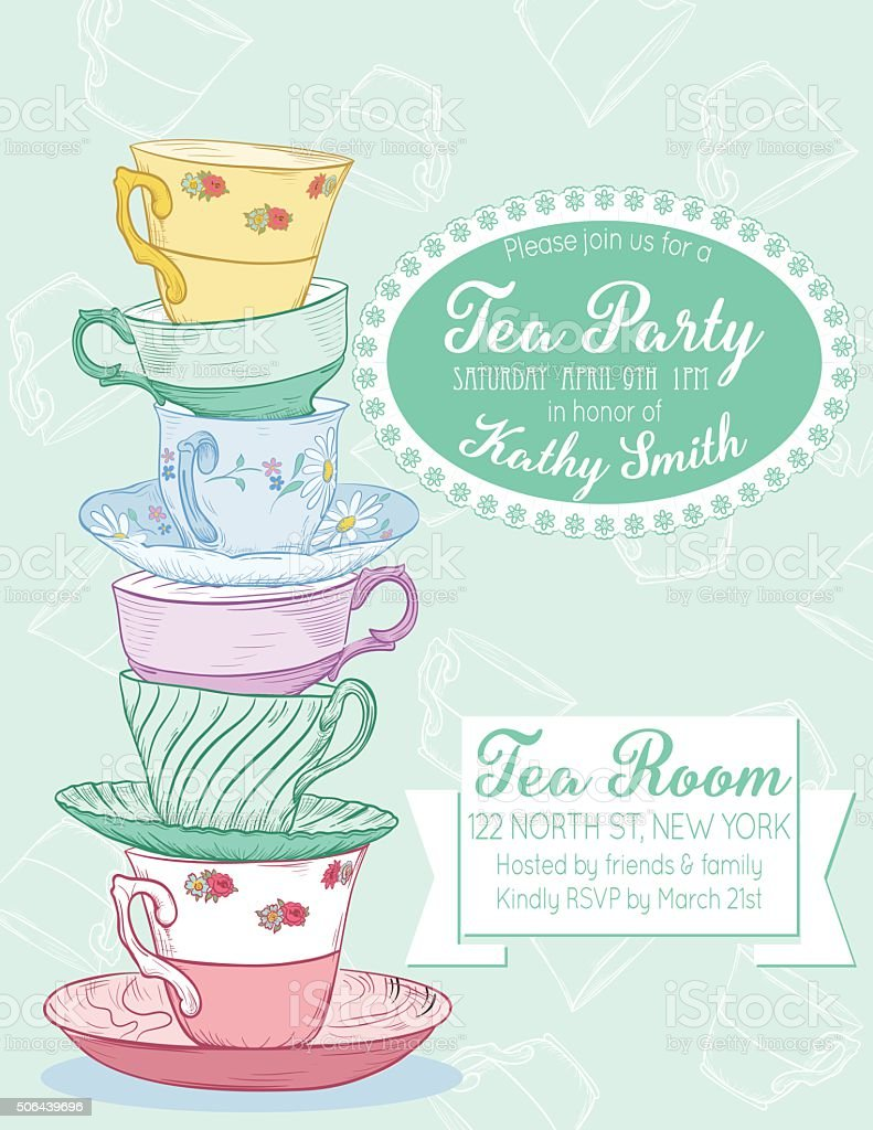 Elegant tea party invitation template with teacups cartoon vector - Tea Party Invitation Template Royalty Free Stock Vector Art