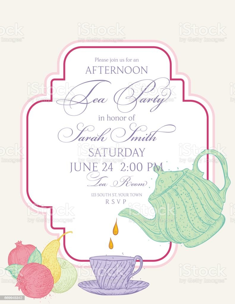 Elegant tea party invitation template with teacups cartoon vector - Tea Party Invitation Template With Text Frame Royalty Free Stock Vector Art