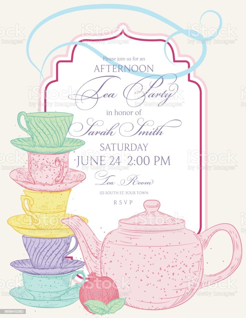 Tea Party Invitation Template With Text Frame stock vector art – Tea Party Invitations Template
