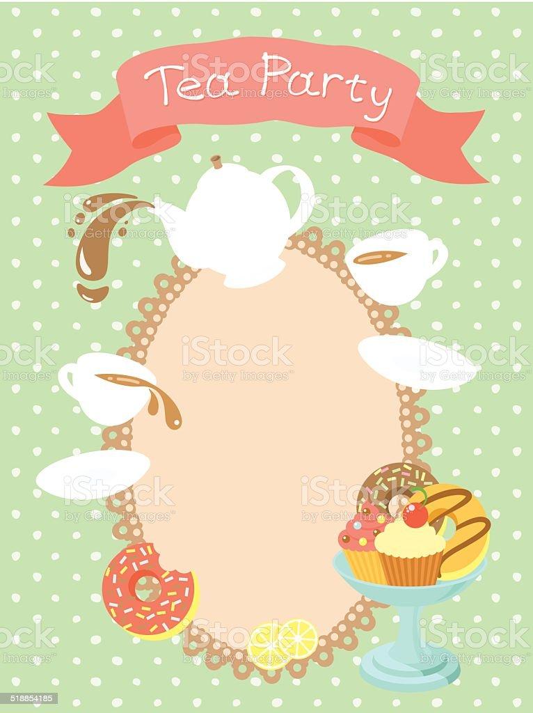Tea Party Invitation vector art illustration