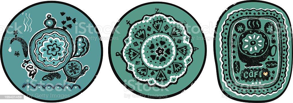 Tea, pizza, coffee vector art illustration
