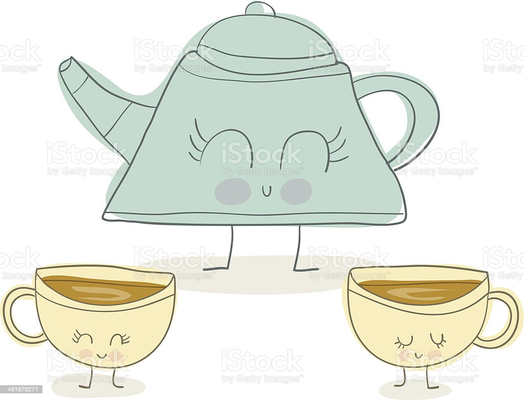 Tea Pot and Cups Doodle royalty-free stock vector art