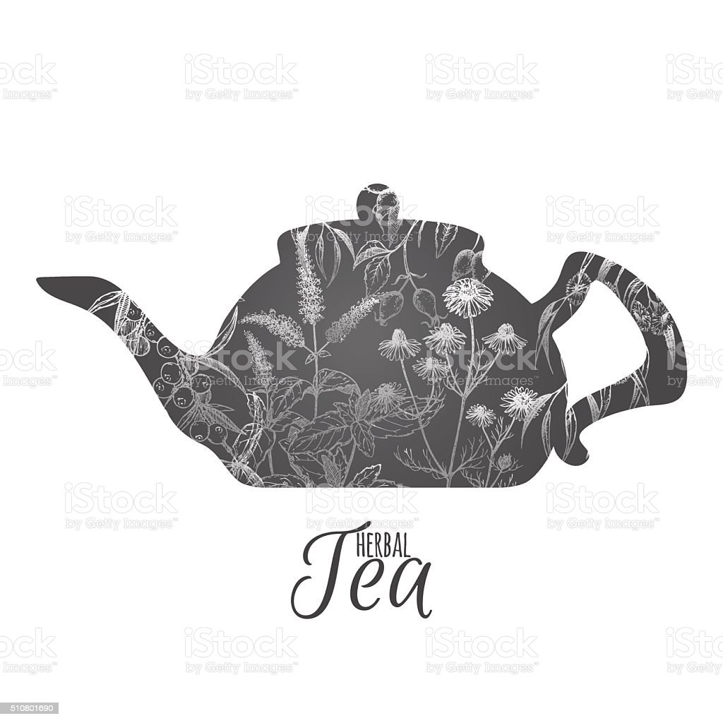 Tea pot decorated with hand drawn herbs vector art illustration