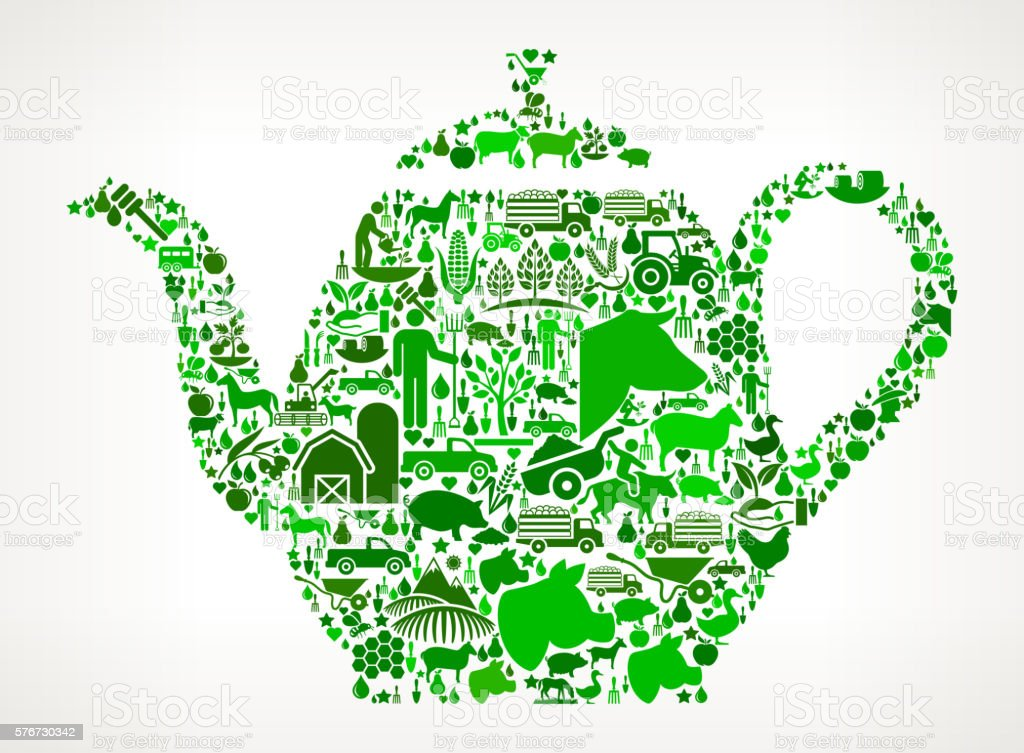 Tea Pot Farming and Agriculture Green Icon Pattern vector art illustration