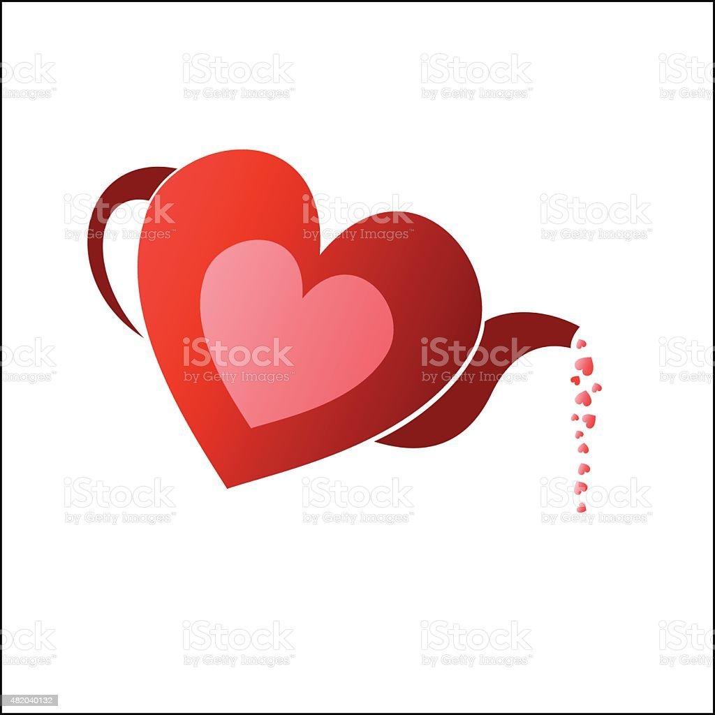 Tea pot heart royalty-free stock vector art