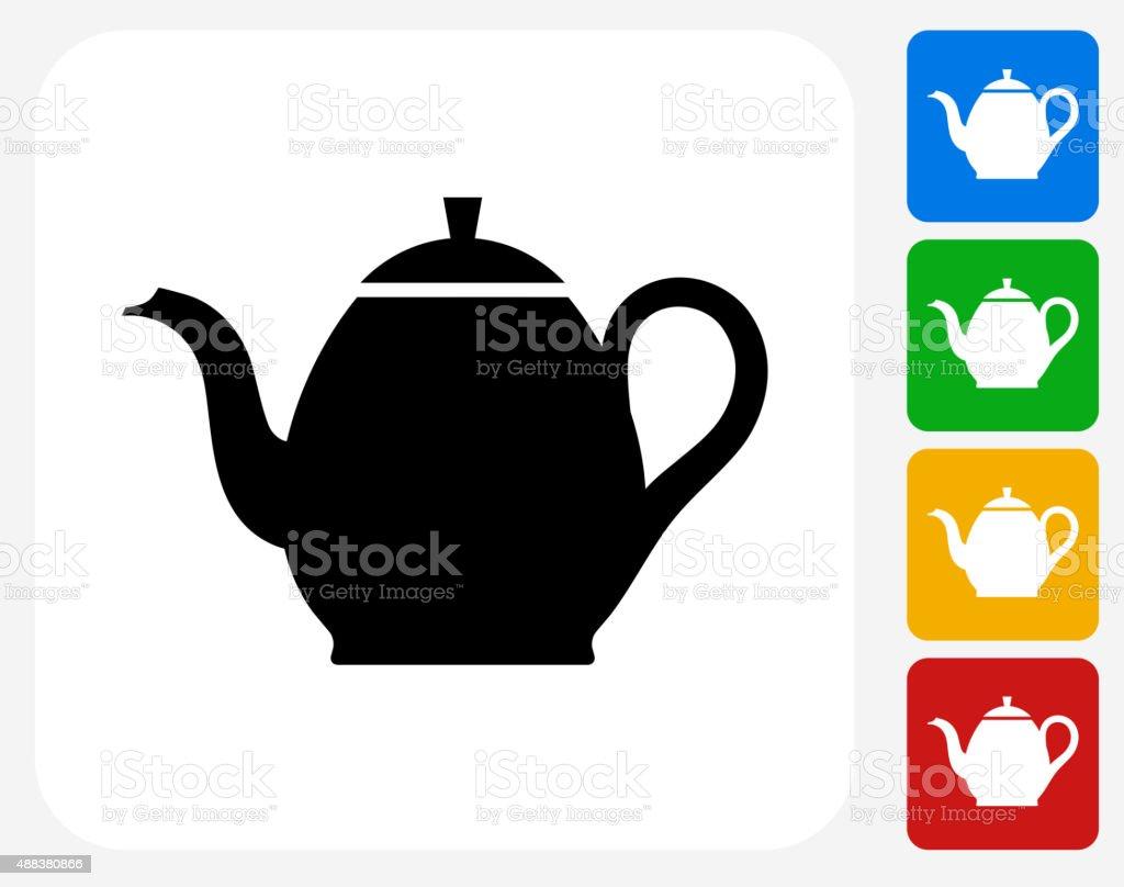Tea Pot Icon Flat Graphic Design vector art illustration