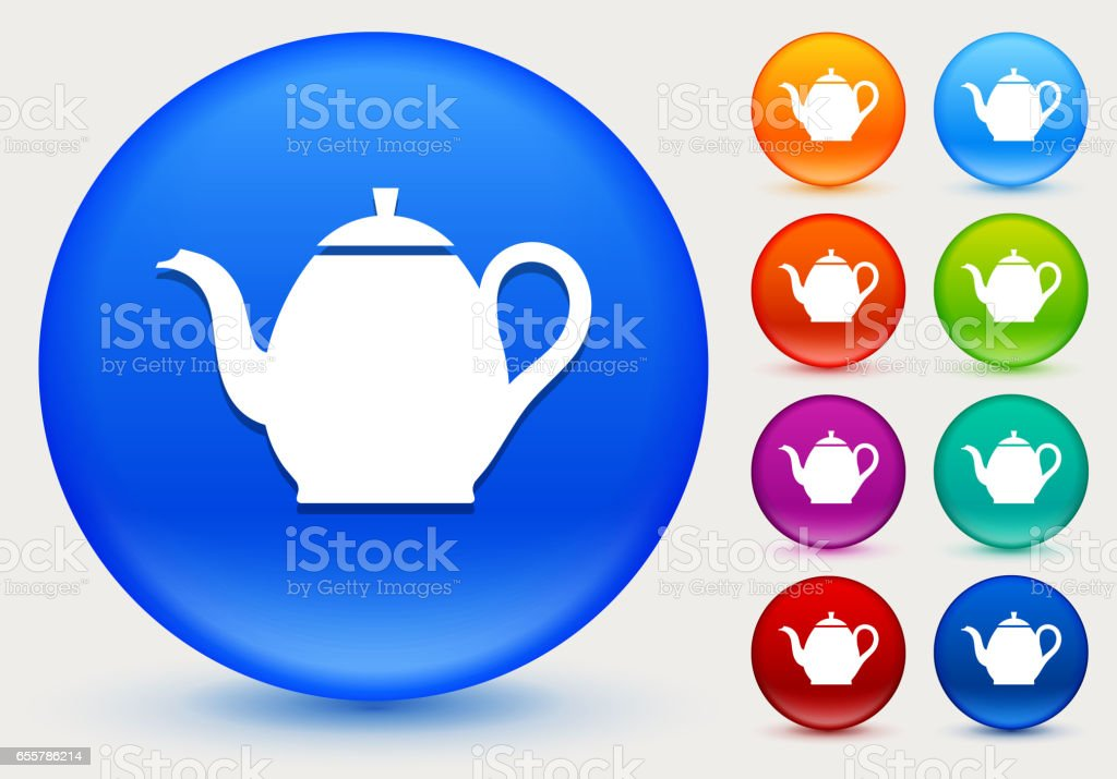 Tea Pot Icon on Shiny Color Circle Buttons vector art illustration