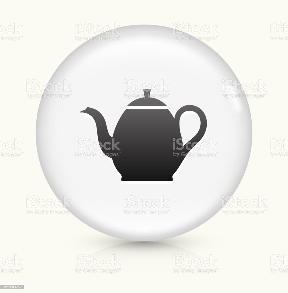 Tea Pot icon on white round vector button vector art illustration