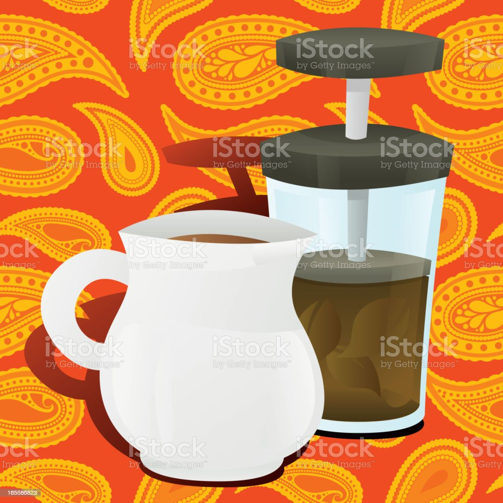 Tea Pot with Plunger on Seamless Paisley royalty-free stock vector art