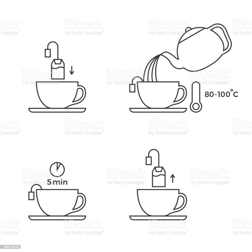 tea preparation for use in packaging vector art illustration