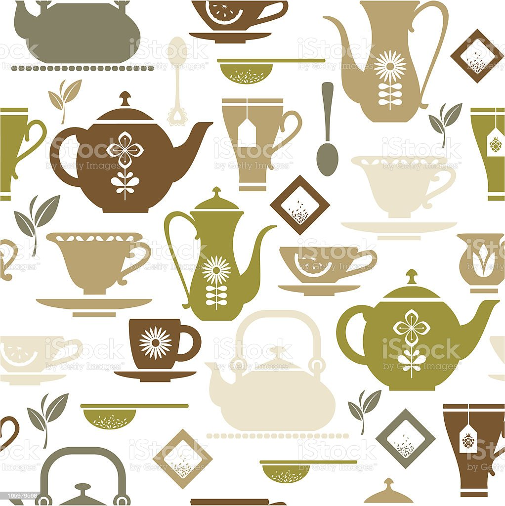 Tea Repeat Pattern vector art illustration