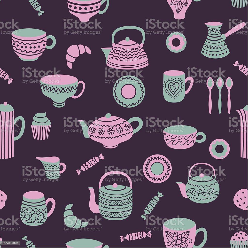 Tea seamless pattern royalty-free stock vector art
