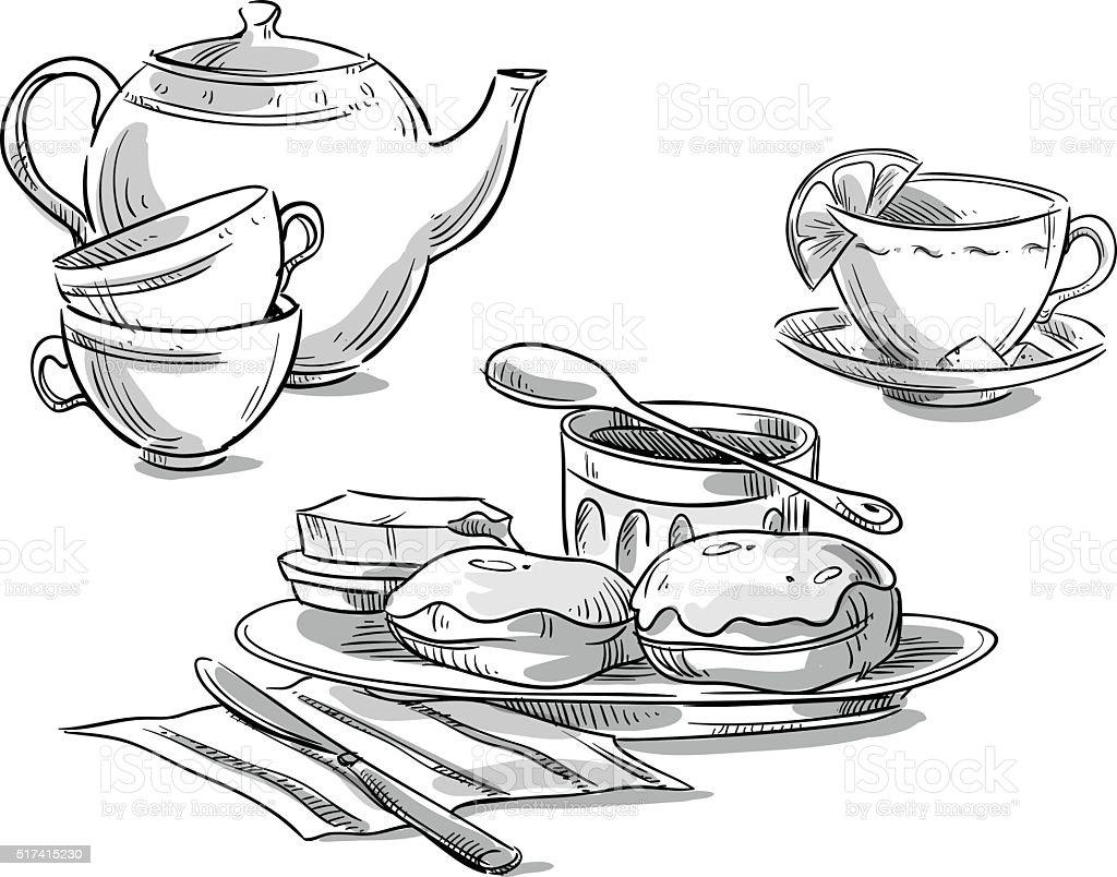 Tea serving. Tea and scones. Vector sketch vector art illustration