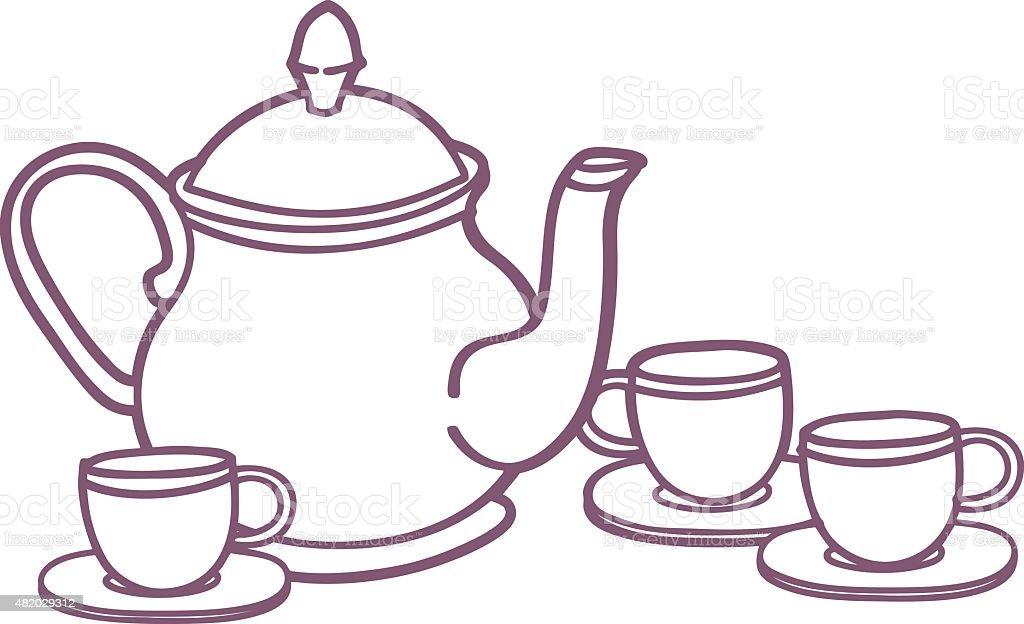 Tea Set Illustration vector art illustration