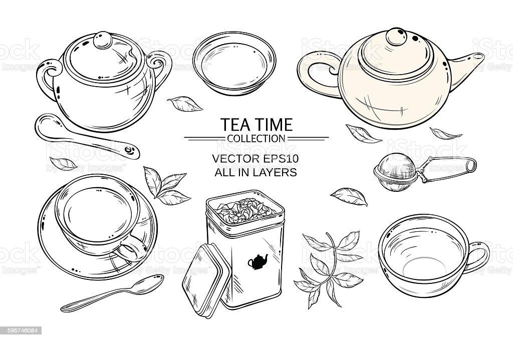 tea set on white background vector art illustration