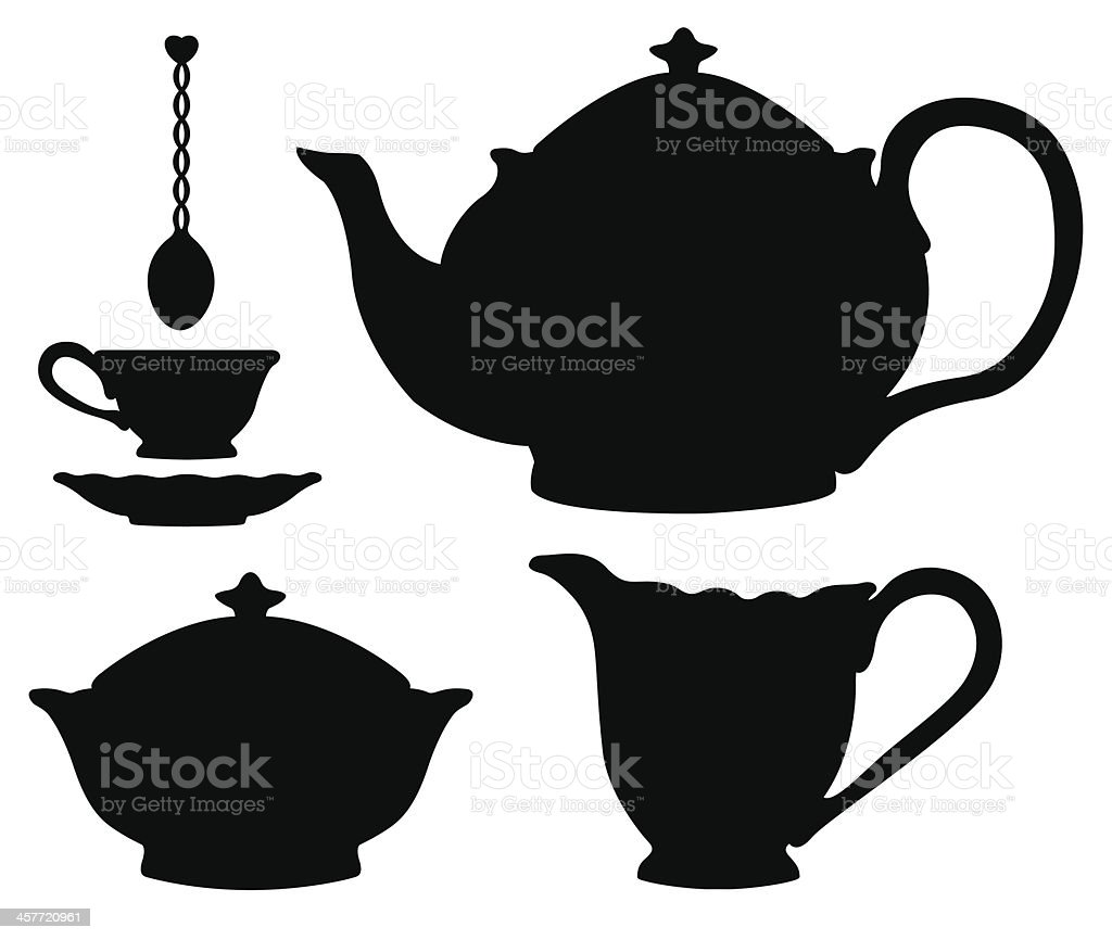 Tea set silhouettes vector art illustration