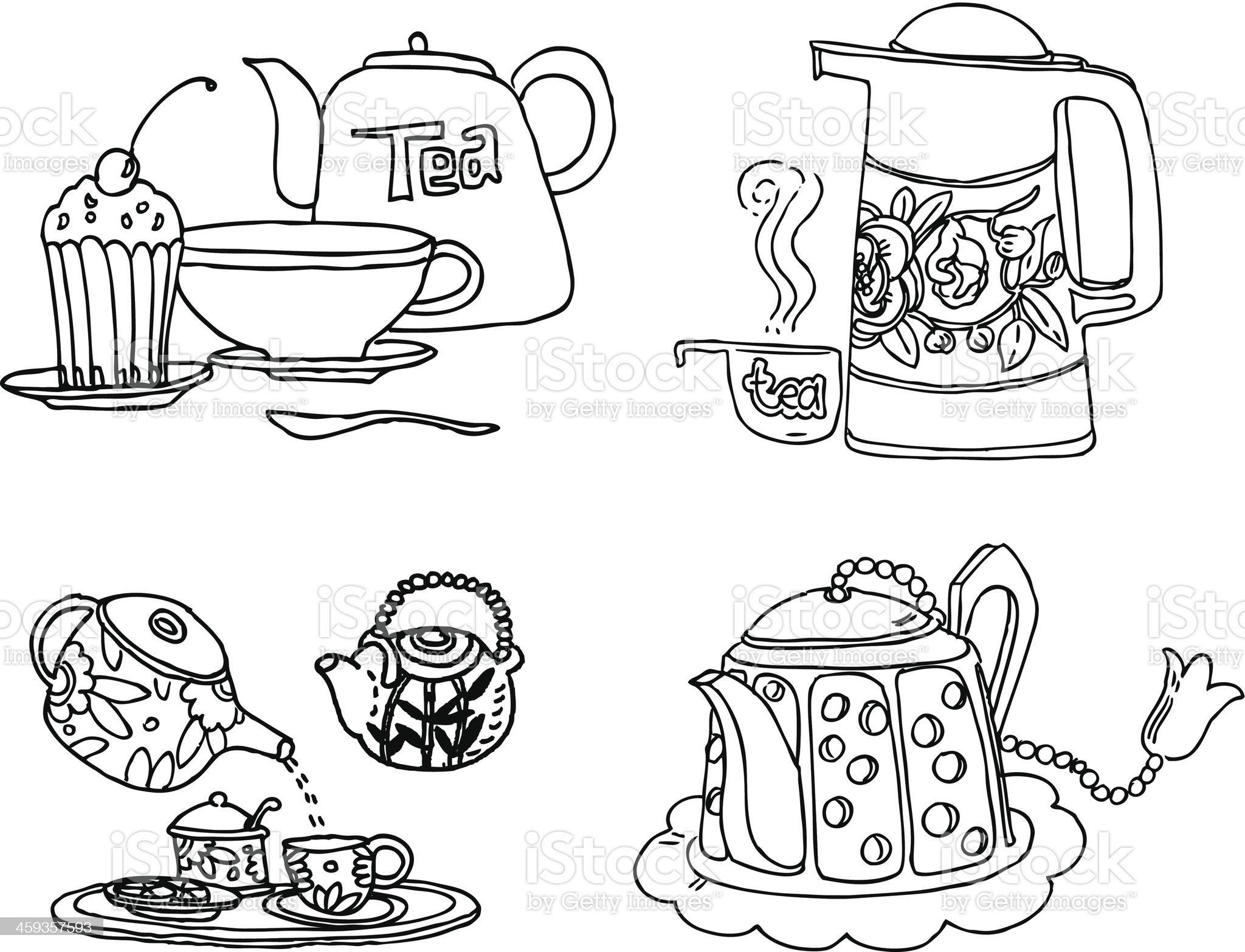 Tea Set royalty-free stock vector art