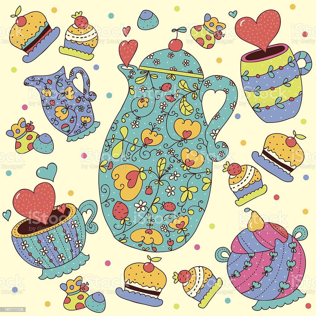 Tea set with hearts. royalty-free stock vector art