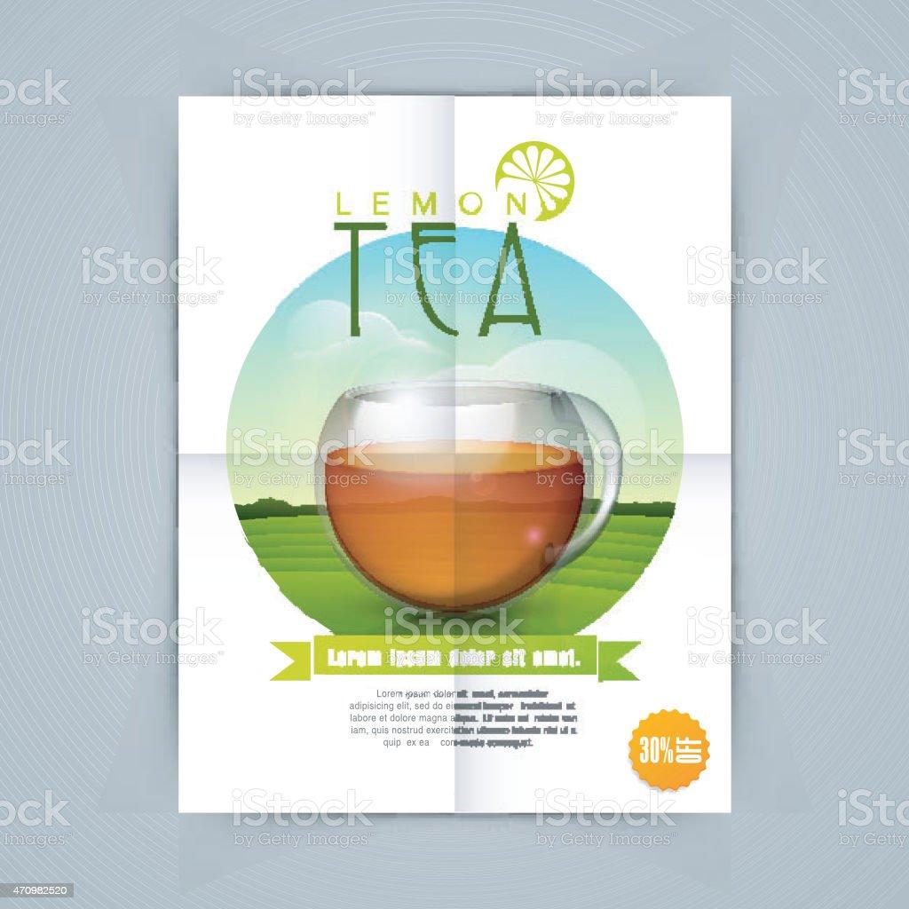 Tea shop template or banner. vector art illustration